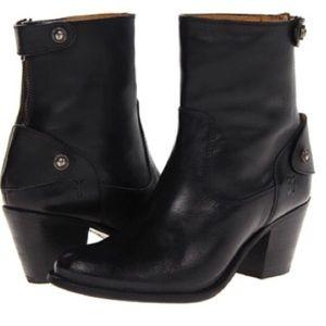 Frye Black Jackie Short Zipper Snap Boots